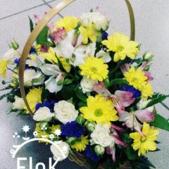 Роза кустовая, хризантемы, альстромерия, статица, зелень