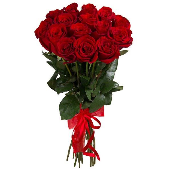 Букет из 15 красных роз, 70 см