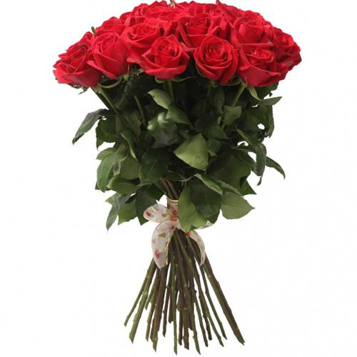 Букет из 21 красной розы, 70 см