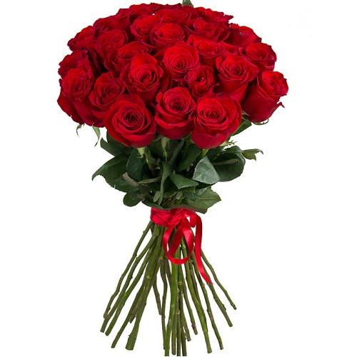 Букет из 25 красных роз, 70 см