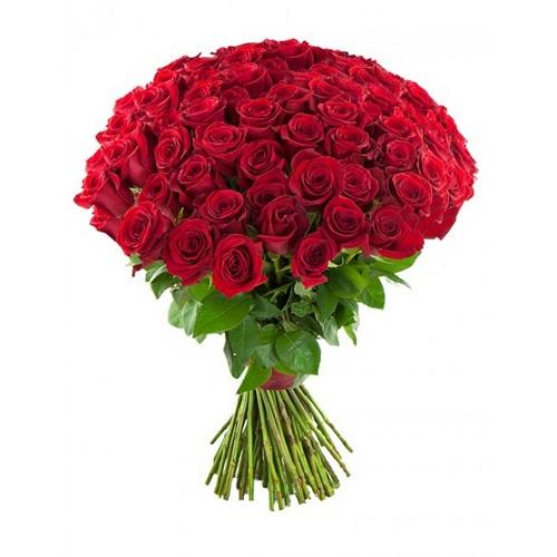 Букет из 75 красных роз, 70 см